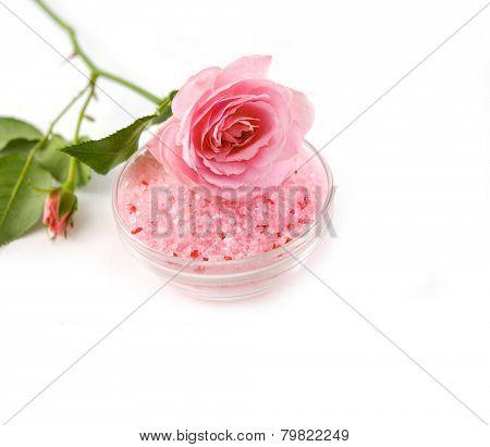 pink rose on salt in bowl