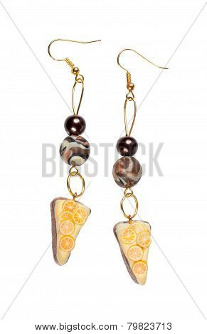 Earrings Made Of Plastic In The Form Of The Cake With Lemon