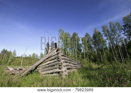 Old collapsed barn