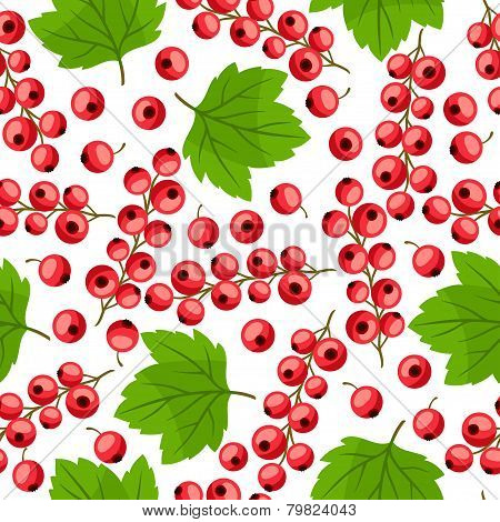 Seamless nature pattern with red currants.