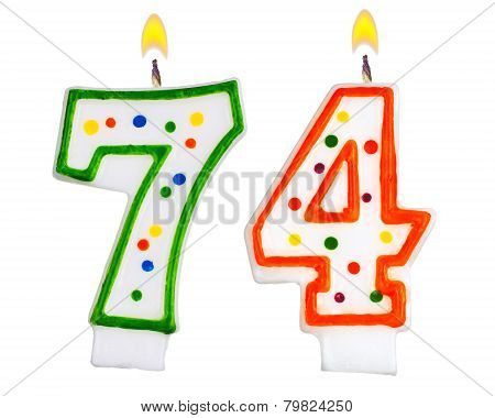 Birthday Candles Number Seventy Four