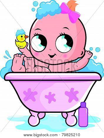 Baby girl taking a bath