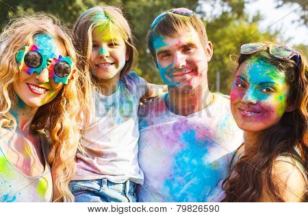 Happy Friends On Holi Color Festival