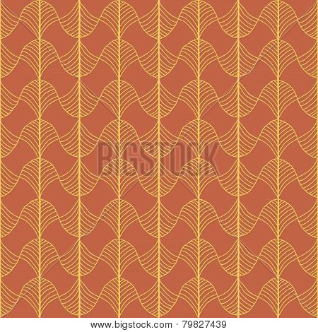 Abstract Traditional African Ornament. Warm orange colors. Seamless vector pattern.