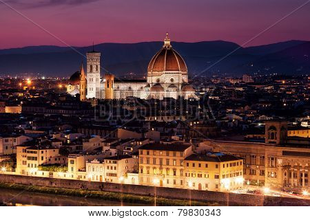 Florence Cathedral of Santa Maria del Fiore on a sunset