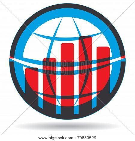 Business Graph With Abstract Globe Sign