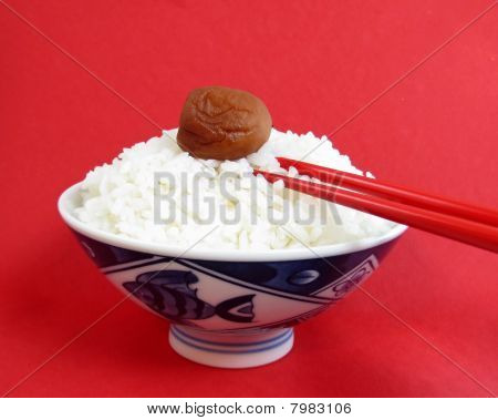Bowl Of White Rice With Ume