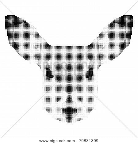 Vector Abstract Monochrome Deer Portrait Of Circles Isolated On White Background