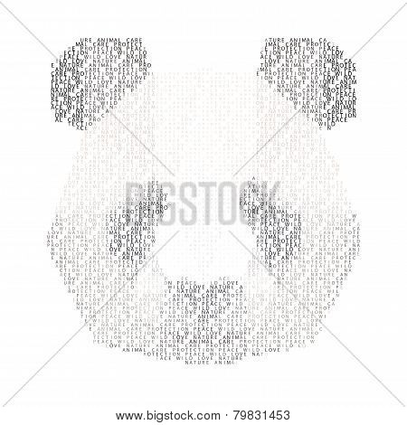 Abstract Panda Portrait Made Of Words  Love, Nature, Anomal, Care, Protection, Peace And Wild, Isola