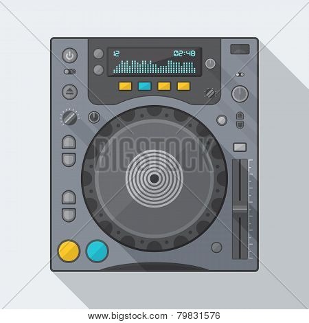 flat style dj cd player icon with shadow
