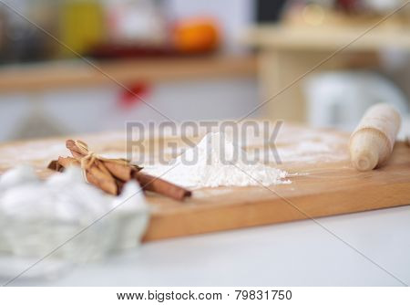 Baking ingredients for shortcrust pastry,plunger on the desk
