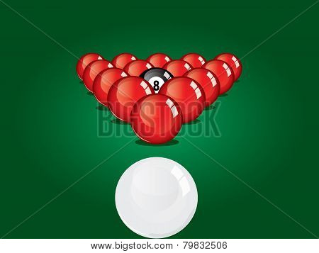 Snooker ball on table.