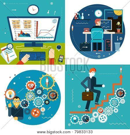 Success Stair Gears Online Business Statistics Concept Symbol Businessman Study Timeline at Work Des