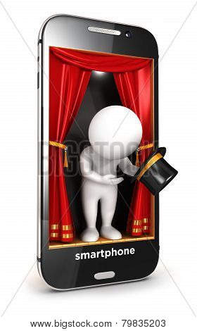3d white people on smartphone stage