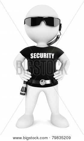 3d white people security guard
