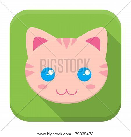 Kitty Flat App Icon With Long Shadow