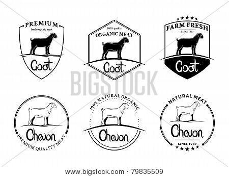 Vector Vintage Goat Meat Labels