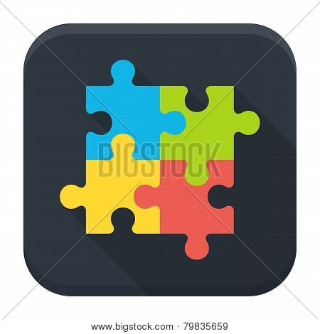 Puzzle Flat App Icon With Long Shadow