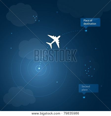 Airplane routes to place of destination. Vector illustration for