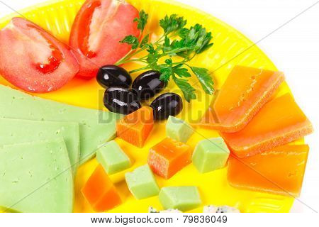 cheese on yellow plate