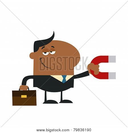 Smiling African American Manager Holding A Magnet.Flat Design Style
