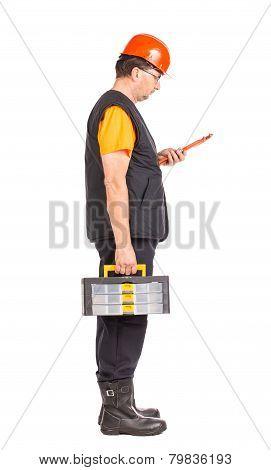 Man holding plastic tool box.