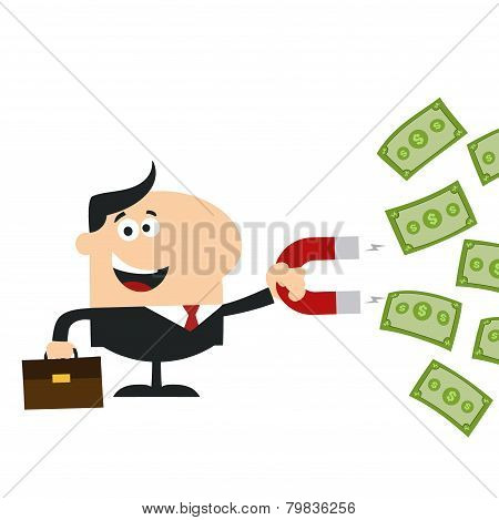 Happy Manager Using A Magnet To Attracts Money.Flat Design Style