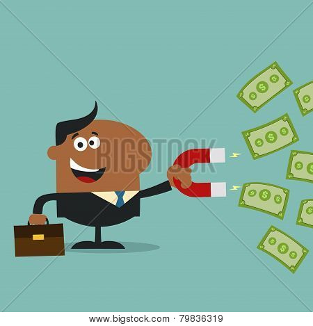 African American Manager Using A Magnet To Attracts Money.Flat Design Style