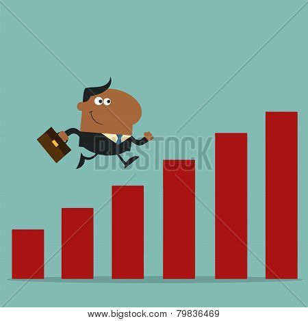 African American Manager Running Over Growth Bar Graph.Flat Style