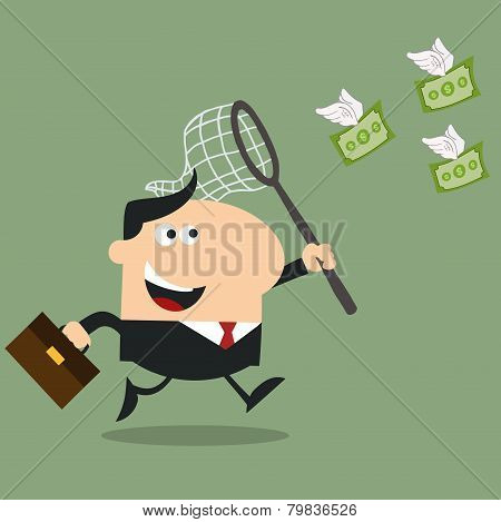 Manager Chasing Flying Money With A Net.Flat Design Style