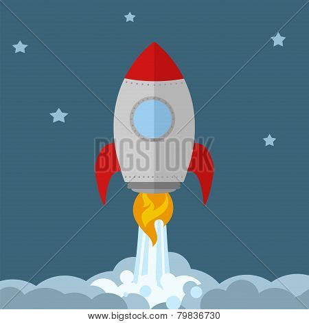 Rocket Ship Start Up Concept.Flat Style