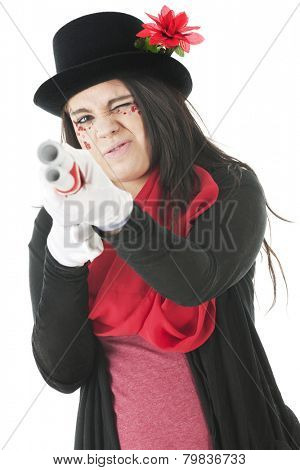A pretty teen girl dressed in red and black, and her face adorned with rhinestones and sparkly red hearts takes aim at the viewer with a double barrel white rifle.  .  On a white background.