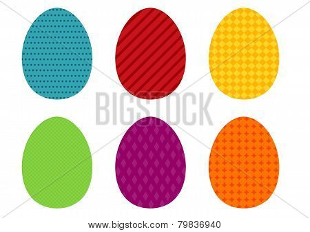 Set Of 6 Colorful Simple Easter Eggs