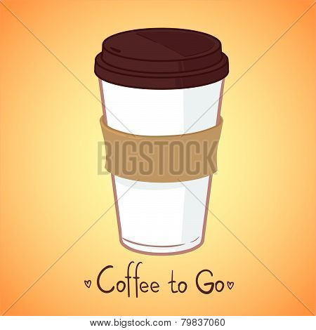 Hand Drawn Vector Illustration - Take Coffee To Go