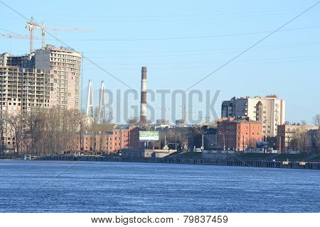 Embankment Of Neva River, Outskirts Of St.petersburg.