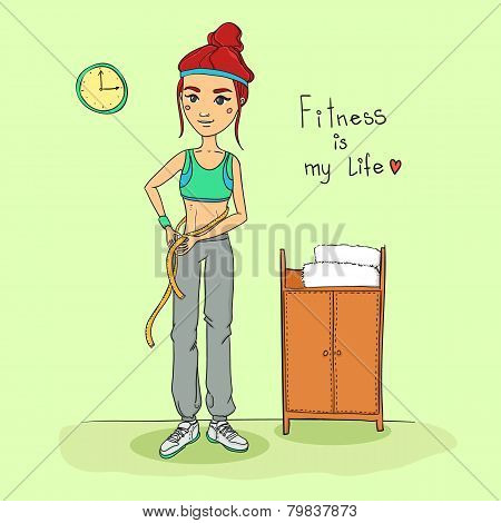 Hand Drawn Illustration - Young Woman Measuring Her Shape In Fitness Center. Vector.
