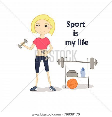 Illustration - Fitness Woman Working Out With Dumbbells In Gym. Vector