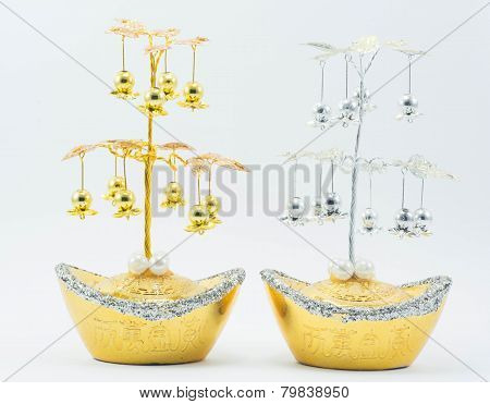 golden and silver tree for decoration in Chinese newyear