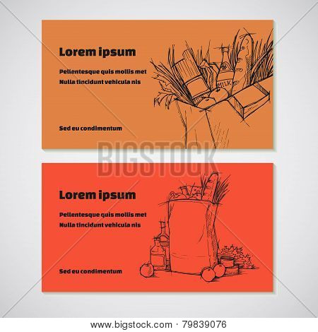 Set Of 2 Detailed Business Cards With  Bag Of Groceries Sketch. For Cafe And Restaurant, Supermarket