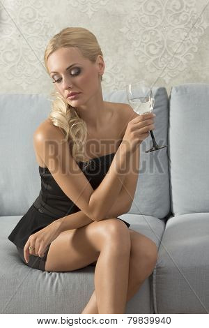 Elegant Woman With Glass