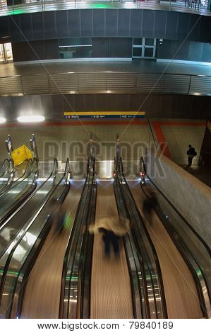 Metro Station Escalators  In Rome