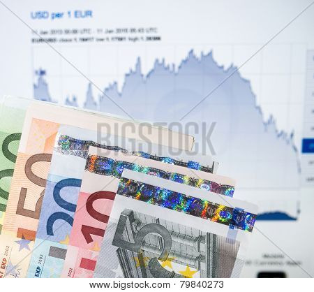 FRANKURT, GERMANY - JANUARY 11, 2015: The Euro currency continues to fall against the US dollar and is predicted to continue so as the U.S. economy continues to show strong growth.