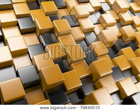 3D Abstract Background Of Cubes Orange And Black