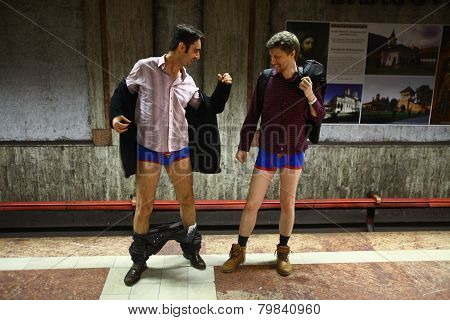 No Pants Subway Ride In Bucharest, Romania