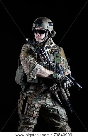 United States Army ranger with pistol