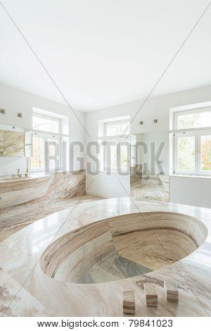 Marble Bathtub In Expensive Bathroom