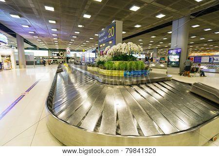 BANGKOK, THAILAND - NOV 07: Suvarnabhumi Airport baggage claim area on November 07, 2014. Suvarnabhumi Airport is one of two international airports serving Bangkok