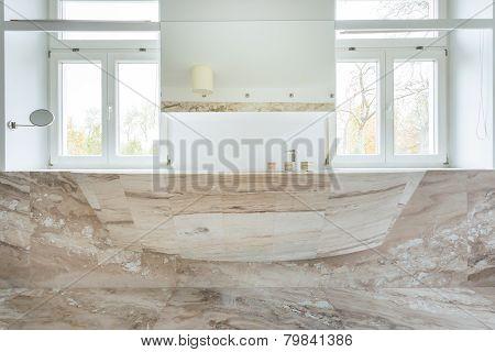 Marble Sink In Expensive Bathroom