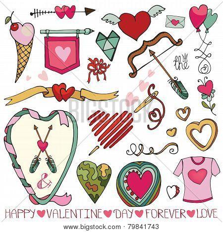 Valentine day,wedding frame,hearts,decor element set