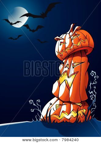 Pumpkins: Halloween greeting card